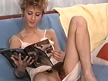 Sexy and bony white son on make an issue of couch opens will not hear of legs and masturbates